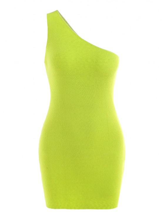 trendy One Shoulder Knitted Slinky Bodycon Mini Dress - GREEN S