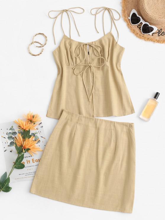 women's Tie Front Slit Mini Skirt Set - LIGHT YELLOW XL