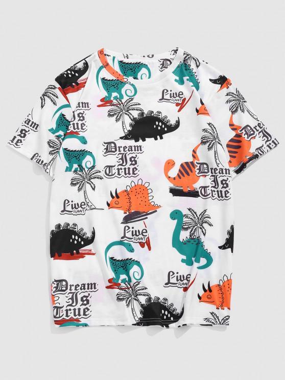 Palm Tree Animal Slogan Short Sleeve T-shirt - أبيض L