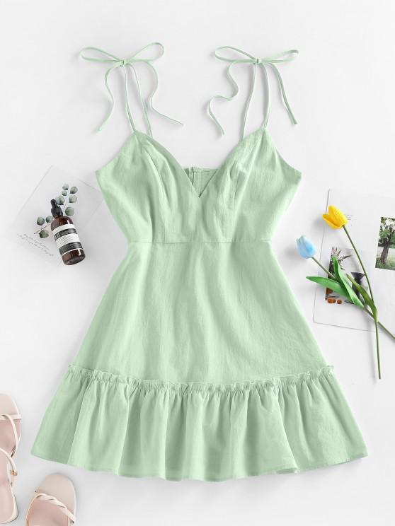 sale ZAFUL Flounce Tie Shoulder Mini Dress - LIGHT GREEN S