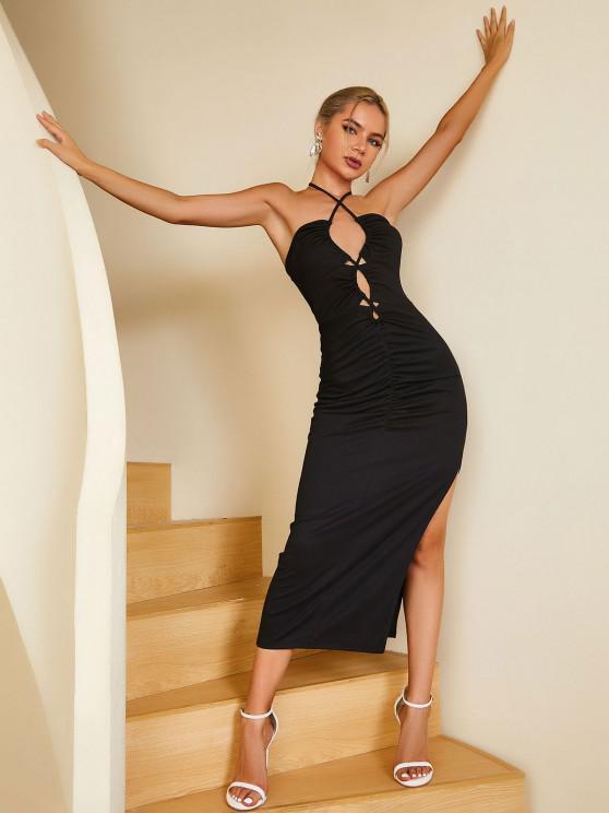 lady ZAFUL Lace Up Halter Thigh Split Dress - BLACK M