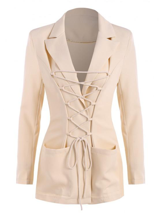 trendy Lace Up Pocket Shoulder Padded Blazer - LIGHT COFFEE S