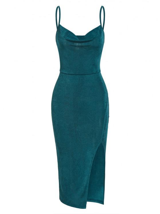 shop ZAFUL High Split Draped Midi Slip Dress - GREEN S