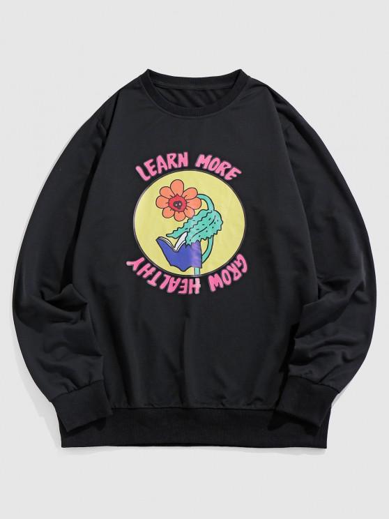 ZAFUL Learn More Grow Healthy Flower Graphic Sweatshirt - أسود XL