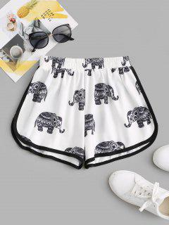 Pantaloncini Da Bagno Con Stampa Elefante - Nero M