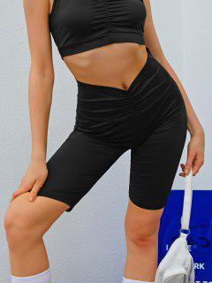 Wide Waistband Ruched Biker Shorts - Black M