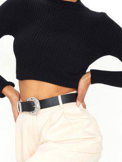 Cintura Con Fibbia In Argento Bicolore - Nero