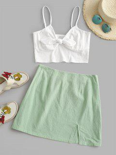 ZAFUL Tie Front Ribbed Slit Skirt Set - Green L