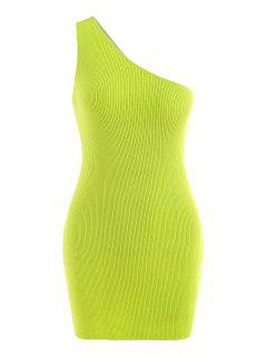 One Shoulder Knitted Slinky Bodycon Mini Dress - Green S