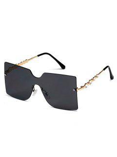 Rimless Rhinestone Temple Oversized Sunglasses - Black