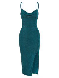 ZAFUL Robe Mi-Longue Drapée à Fente Haute - Vert S