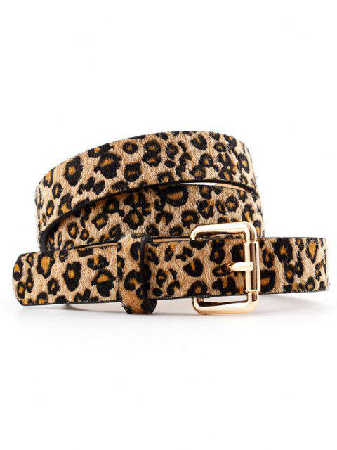 Flaumige Leopard Druck Gold Schnallengürtel - Leopard  Mobile