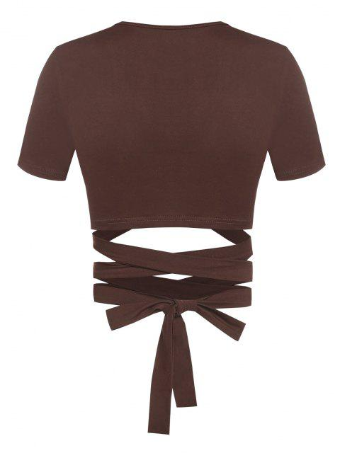 unique ZAFUL Lace Up O Ring Crop T Shirt - DEEP COFFEE S Mobile