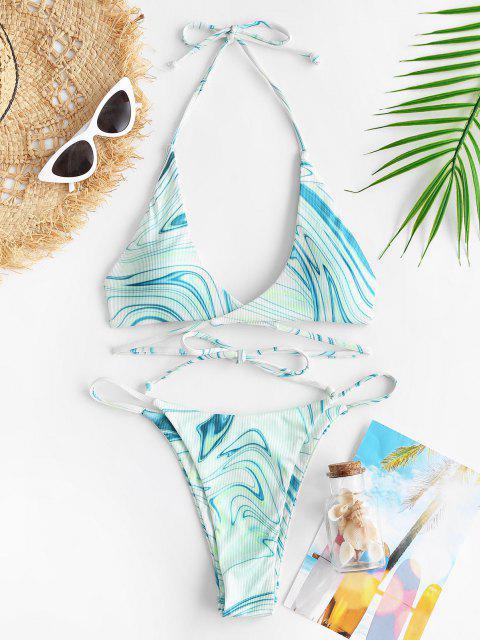 affordable ZAFUL Halter Crossover Ribbed Abstract Print Thong Bikini Swimwear - LIGHT GREEN L Mobile