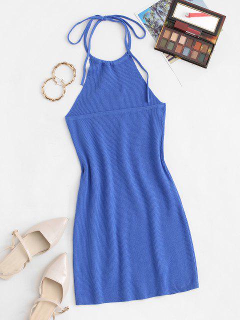 Halfter Rippbett Strick Slinky Minikleid - Blau Eine Größe Mobile