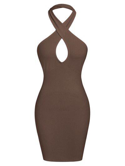 ZAFUL Ribbed Halter Backless Bodycon Dress - Deep Coffee Xl