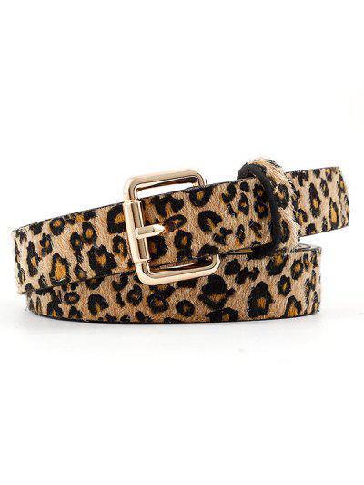 Fuzzy Leopard Print Gold Tone Buckle Belt - Leopard