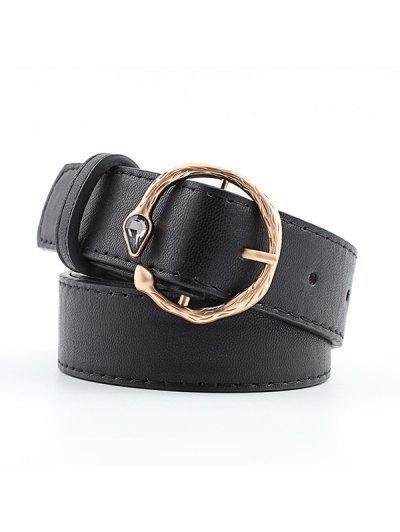 Faux Gemstone Snake Round Buckle Belt - Black