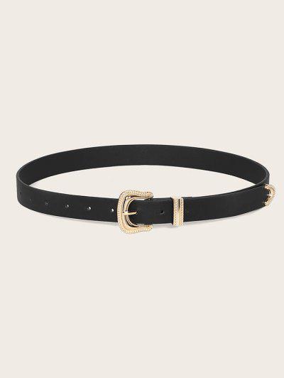 Retro Gold Tone Engraved Buckle Belt - Black