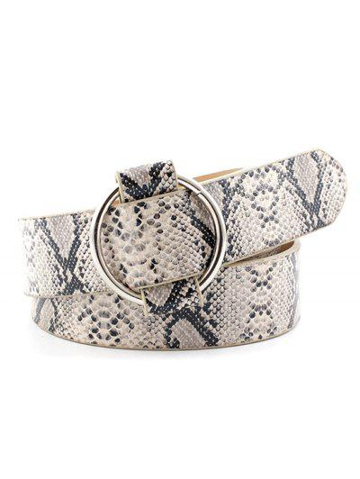 Snakeskin Print Round Buckle Faux Leather Belt - Crystal Cream