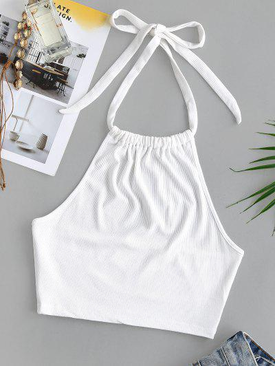 Halter Rib-knit Gathered Crop Tank Top - White S