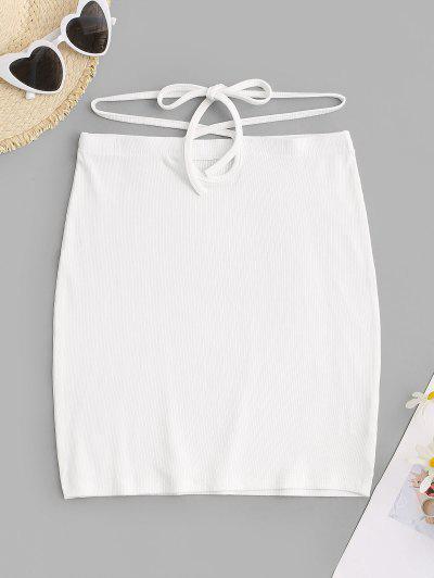 Built-in G-string Ribbed Slinky Mini Skirt - White M