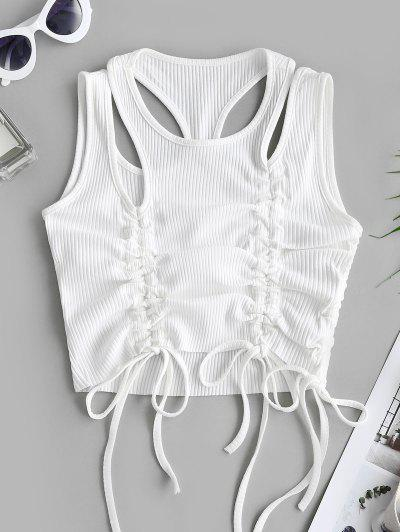 Rib-knit Cinched Ruched Cutout Crop Tank Top - White L