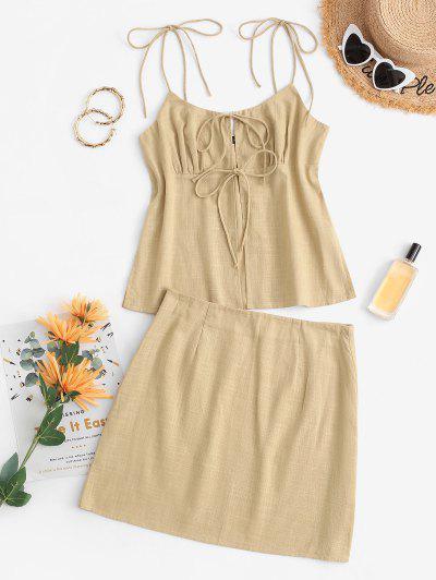 Tie Front Slit Mini Skirt Set - Light Yellow Xl