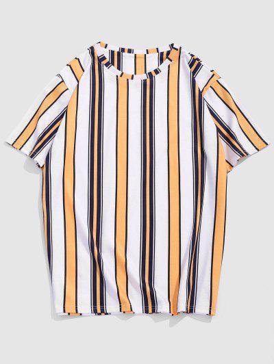 Contrasting Stripe Pattern T-shirt - Sun Yellow Xxl