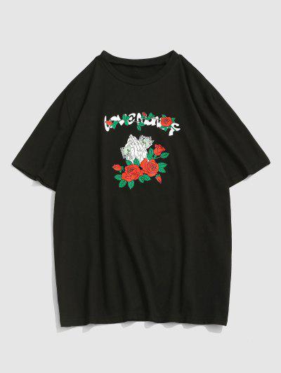 ZAFUL Liebe Money Rose Grafik T-Shirt - Schwarz M