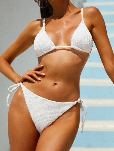 ZAFUL Upside Down Textured Tie Side String Bikini Swimwear - White L
