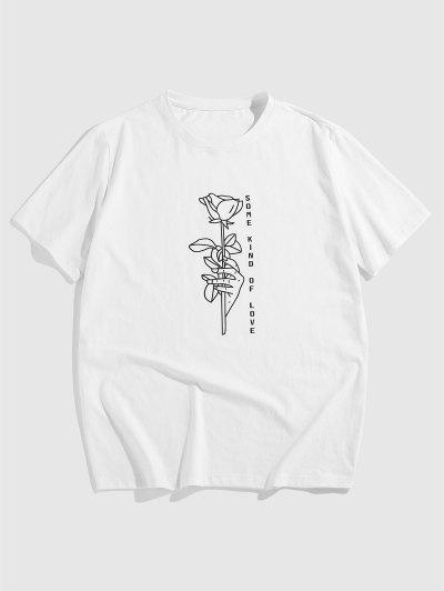 ZAFUL Some Kind Of Love Rose Graphic T-shirt - White L