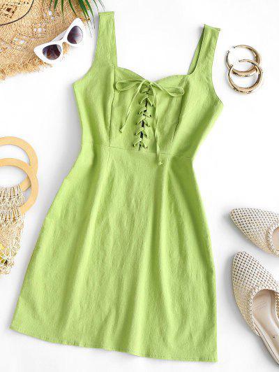 Lace-up Smocked Back Sleeveless Dress - Green M