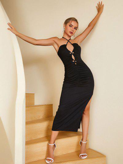 ZAFUL Lace Up Halter Thigh Split Dress - Black Xl