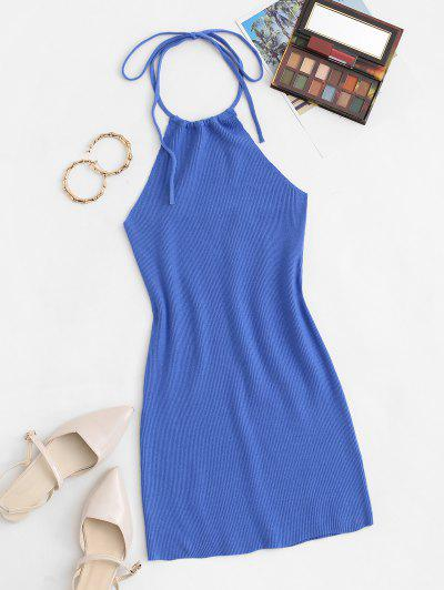 Halter Ribbed Knit Slinky Mini Dress - Blue