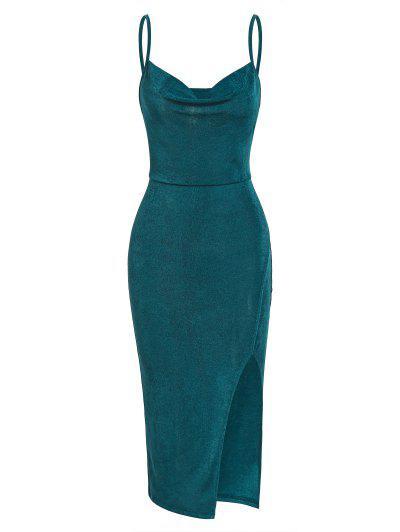 ZAFUL High Split Draped Midi Slip Dress - Green L
