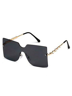 zaful Rimless Rhinestone Temple Oversized Sunglasses