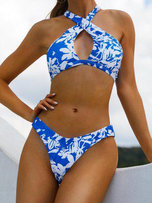 zaful ZAFUL Halter Crossover Crinkly Floral High Leg Bikini Swimsuit