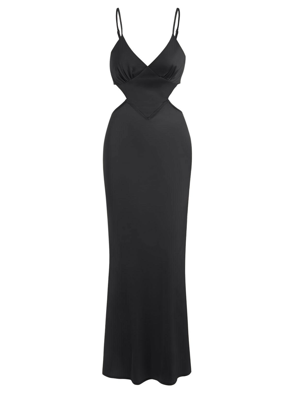 Silky Satin Cutout Maxi Slip Dress