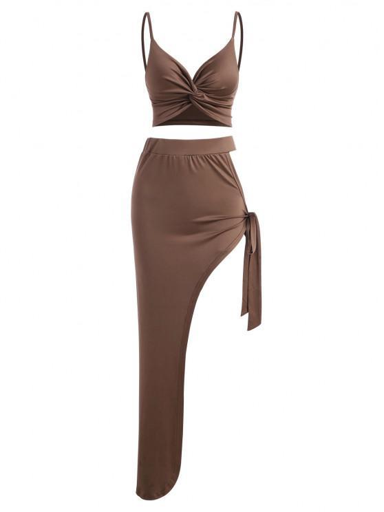 latest Twist Tie Cutout Asymmetrical Two Piece Dress - COFFEE S