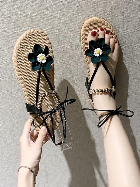 Blumen Perlen Sandalen mit Schnürung - Schwarz EU 37