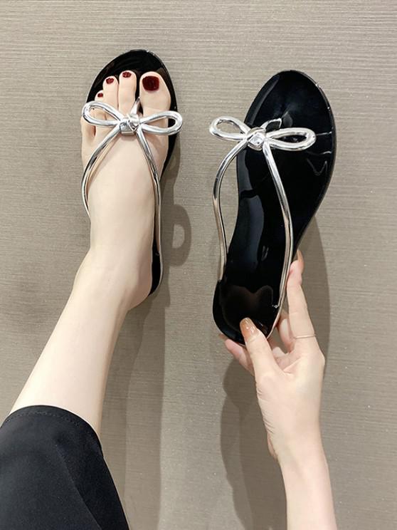 ladies Bowknot Flat Flip Flops - BLACK EU 38