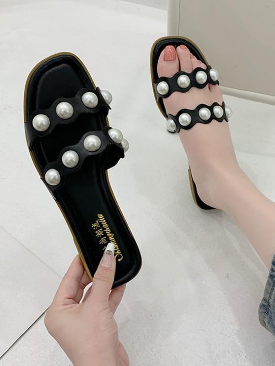 Künstliche Perle Zwei Riemen Flache Pantoffel - Schwarz EU 38