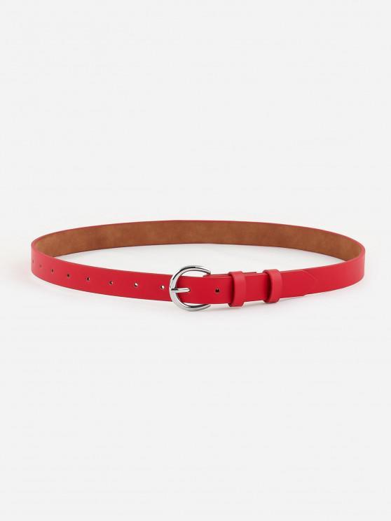 Minimalistischer Silberton-D-Schnallengürtel - Rot