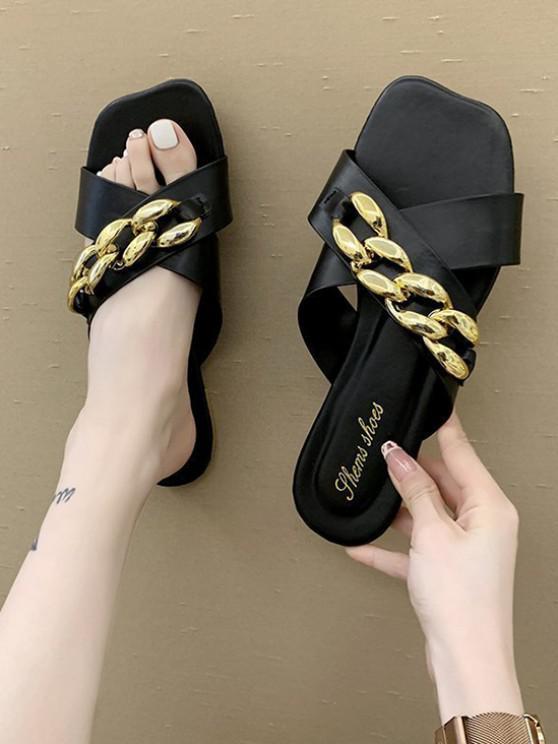 hot Square Toe Chain Cross Strap Slippers - BLACK EU 37