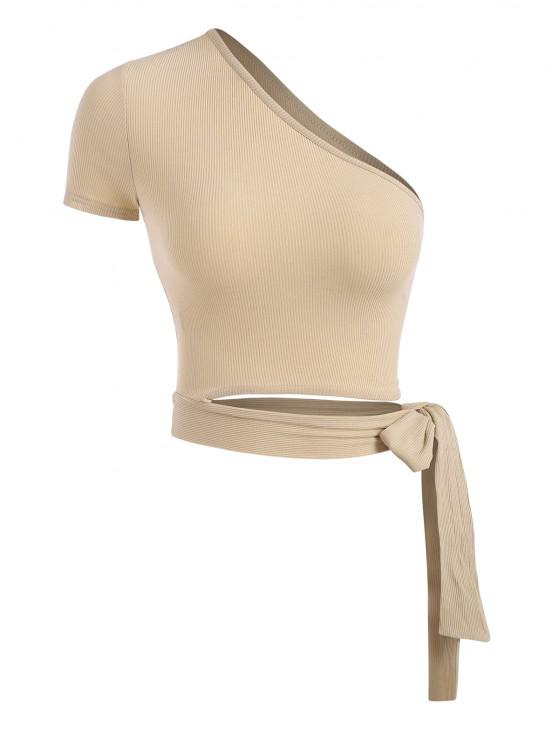 women's Ribbed Tie Side Cut Out One Shoulder Crop Top - LIGHT COFFEE S