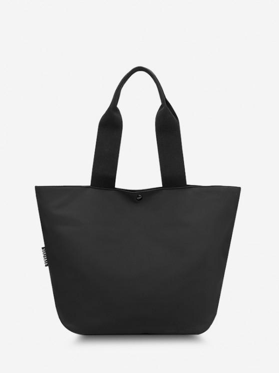 Nylon Side Pocket Casual Tote Bag - أسود