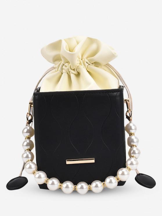 Boxy Faux Pearl Drawstring Chain Bucket Bag - أسود