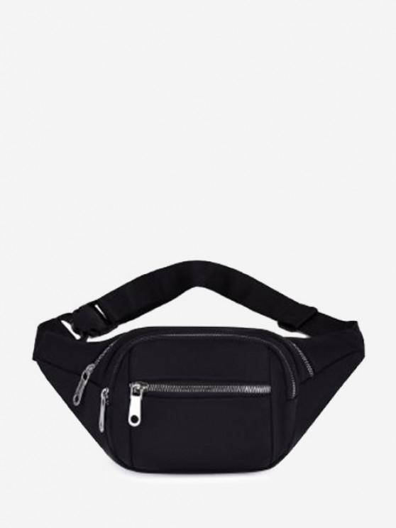 Multi Compartment Solid Nylon Bum Bag - أسود