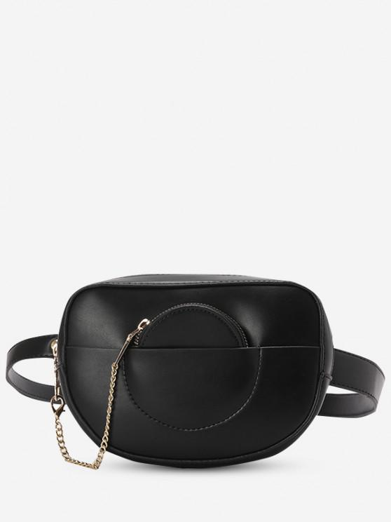 Solid Faux Leather Bum Bag With Pouch - أسود